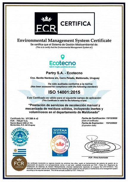 Certificado ISO 14001 Ecotecno