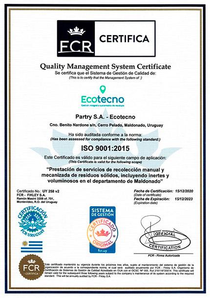 Certificado ISO 9001 Ecotecno